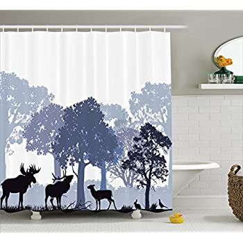 Amazon.com: Ambesonne Moose Shower Curtain Set, Gray Forest Design ...