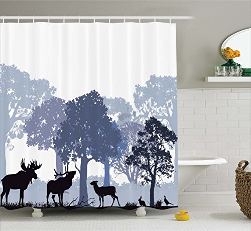 Ambesonne Moose Shower Curtain Set, Gray Forest Design Abstract Woods North American Wild Animals Deer Hare Elk Trees, Fabric Bathroom Decor with Hooks, 75 Inches Long, Lilac Cadet Blue Black Christmas Tree Design Ideas