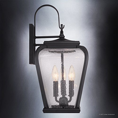 Luxury French Country Outdoor Wall Light, Large Size: 19''H x 9.5''W, with Mediterranean Style Elements, Soft and Simple Design, Inky Black Silk Finish and Seeded Glass, UQL1202 by Urban Ambiance by Urban Ambiance (Image #3)