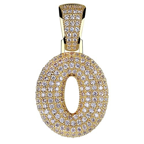 HECHUANG Gold Plated Micropave Iced Out Bling 0, 1, 2, 3, 4, 5, 6, 7, 8, 9 Number Pendant Rope Chain Necklace
