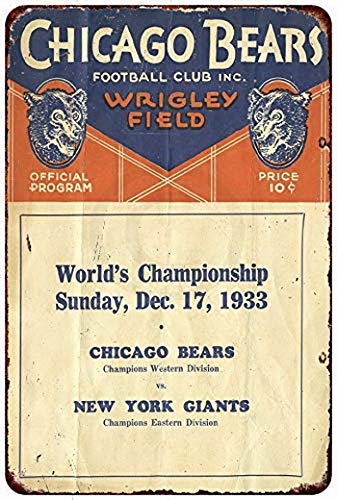 KPSheng 1933 Chicago Bears Wrigley Field Vintage Reproduction Metal Sign 8 x 12