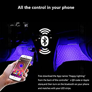 Orange Tech 4Pcs Car LED Strip Lights, Music Interior Lighting Kit with APP Bluetooth Control for iPhone Android, RGB Multicolor Underglow/ UnderDash Lighting with Music Function and Cigarette Lighter