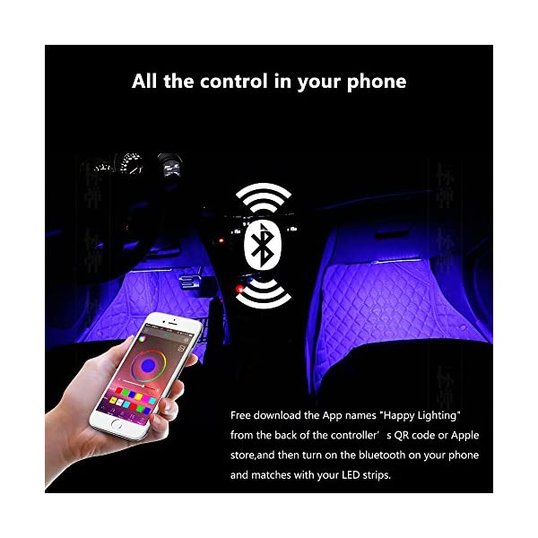 ORANGE TECH 4Pcs Car LED Strip Lights Music Interior Lighting Kit With APP Bluetooth Control For IPhone Android RGB Multicolor Underglow UnderDash Lighting With Music Function And Cigarette Lighter