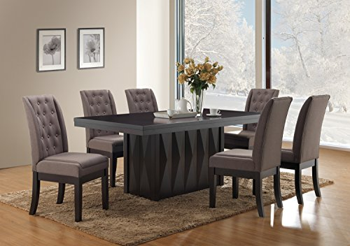 Kings Brand Furniture 7-Piece Rectangular Dinette Dining Room Set, Table & 6 Chairs, Gray