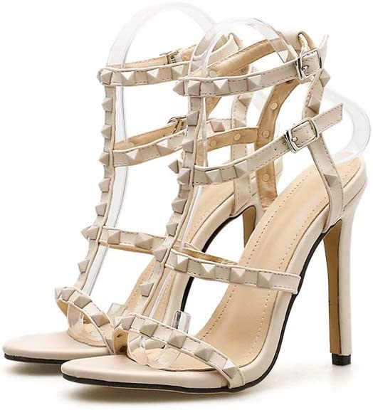 GHFJDO Womens Toe Ankle Studded T-Strap Sandals,Ladies Summer Ankle Strap Slingback Pointed PU Stiletto Heels Wedding Party Shoes