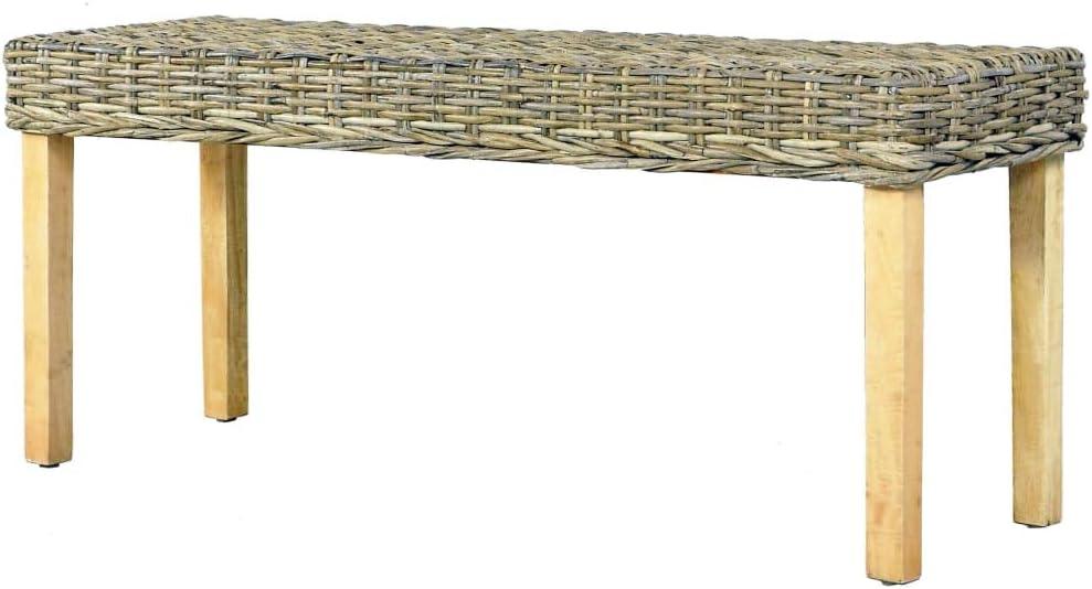 vidaXL Solid Mango Wood Bench Dining Room Benches Kitchen Dinner Room Wooden Hall Benches Interior Decor Rotan Chairs 110 cm Natural Kubu Rattan Natural Kubu Rattan