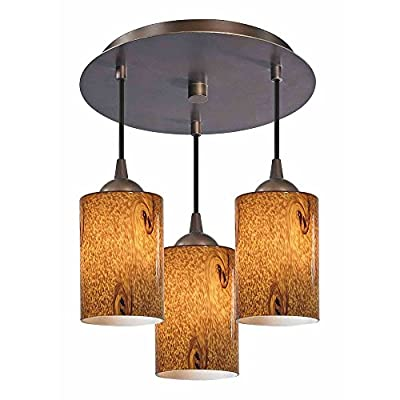 Modern Semi-Flushmount Ceiling Light with Brown Art Glass