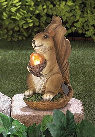 solar garden animal statues squirrel concrete sculptures resin outdoor decor patio lawn yard ornament - Solar Garden Decor