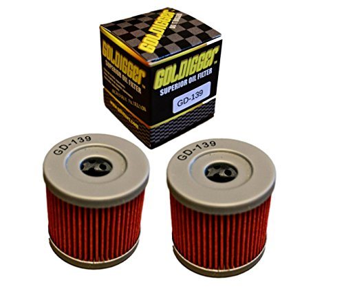 GOLDIGGER After Market HF139 & KN-139 Replacement Oil Filter Powersports/Motorcycle/Dirt Bike/ATV (2 Pack) (Suzuki Drz 400 Oil Filter)