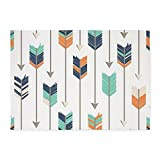 Cheap CafePress Tribal Arrows Pattern – Navy Orange Decorative Area Rug, 5'x7′ Throw Rug