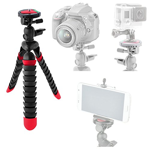 Tripod For GoPro HERO5 Black, Session, HERO4 Black, Silver, HERO Session, HERO3+, HERO3, HERO2 - Includes Flexible Tripod w/ Quick Release Plate & Bubble Level + Adapter For GoPro + Phone Mount