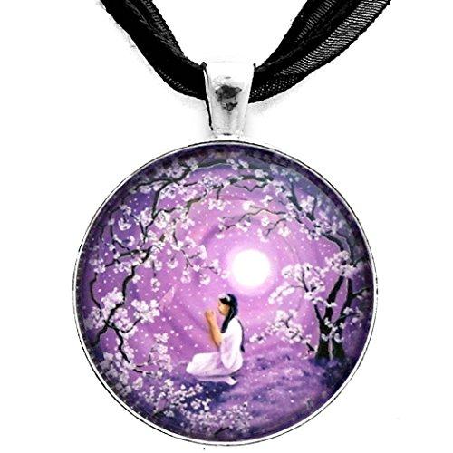 White Tara Tibetan Buddhist Goddess Quan Yin Pendant Necklace Lavender Purple Moon Cherry Blossoms