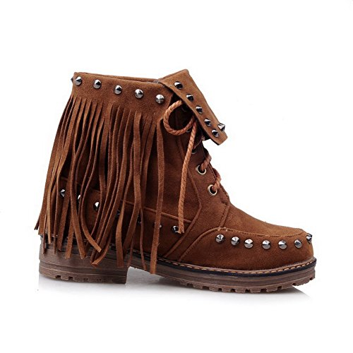 Allhqfashion Women's Lace up Low Heels Frosted Fringed Low Top Boots Brown ux65AUXB