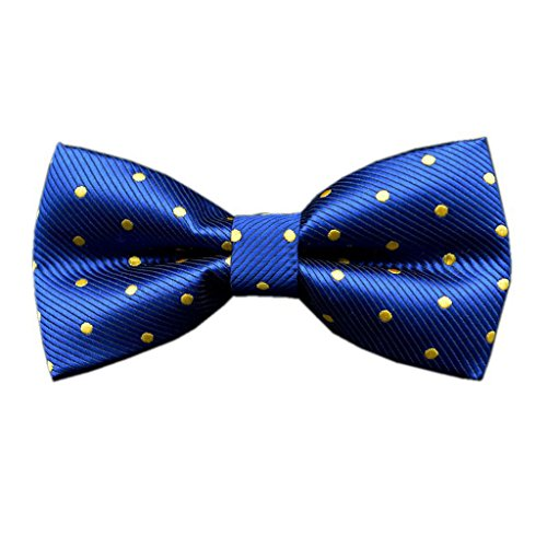 - Boling Polyester Silk Solid Dot Jacquard Formal Bow Ties for Mens (Blue with yellow Dot)
