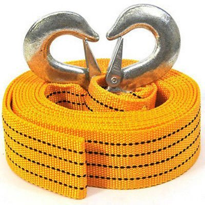 Gearmax® 4M Heavy Duty Tow Rope / 3 Tonne Towing Belt Cable / 3T Ton Emergency Strap / 3 Tonne Heavy Duty Towing Belt with Hooks For Car Van Vehicle Gearmax®