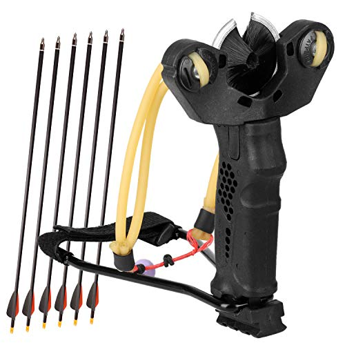 YuXing Professional Fishing/Hunting Slingshot Include 6 Arrows (Alloy Arrow with Mixed Carbon Shaft)
