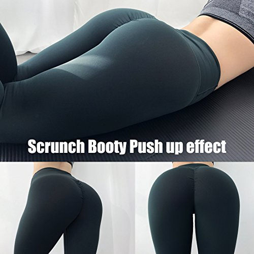 SEASUM Women Scrunch Butt Yoga Pants Leggings High Waist Waistband Workout Sport Fitness Gym Tights Push up L,Black,Large by SEASUM (Image #4)