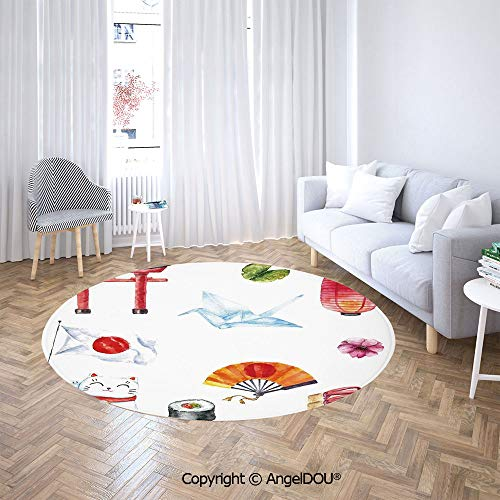 AngelDOU Printed Anti-Slip Soft Round Carpet Hand Drawn Traditional Elements Watercolors Torii Gate Origami Bird Flag Lacky Cat for Living Room Children Bedroom Rugs. ()