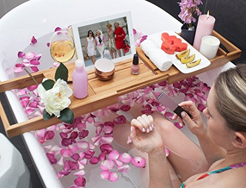 Bed Table & Bathtub Tray -- Combines bamboo bath tub caddy for relaxation and bed tray for productivity into 1 -- Luxurious bathtub caddy for bath accessories wine glass book iPad phone and laptop by Sugarwood Home (Image #7)