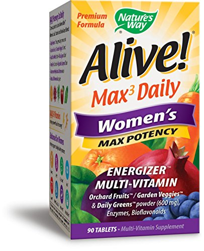Women Multivitamin 90 Tabs (Nature's Way Alive!® Max3 Daily Women's Multivitamin, Food-Based Blends (1,130mg per serving) and Antioxidants, 90 Tablets)