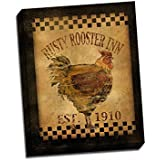 Rusty Rooster Inn 16x20 Stretched Canvas Folk Art Print Country Kitchen Decor Animals Vintage Wall Hanging