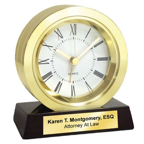 Mahogany Award Base - Engrave Clock Desk Table Brass Gold Wood Base Retirement Gift Anniversary Wedding Executive Employee Recognition Service Award Business Coworker Boss