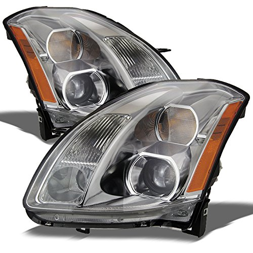 Nissan Maxima Halogen Type Replacement Projector Headlights Driver/Passenger Chrome Head Lamps (Nissan Maxima Projector Headlights)