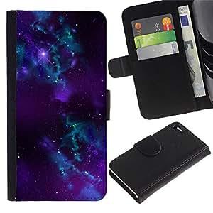 "Apple iPhone 4 / iPhone 4S , la tarjeta de Crédito Slots PU Funda de cuero Monedero caso cubierta de piel ("" Nebula Galaxy Stardust Purple Universe Gas"")"