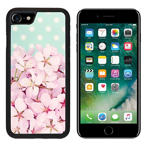 Polka Dot Cherries Snap - Liili Premium Apple iPhone 8 Aluminum Backplate Bumper Snap Case Pink Cherry Blossom Flower Bouquet on Light Blue Vintage Polkadot Background Photo 19979131