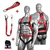 DCM Fall Protection Full Body Safety Harness Belts Kit with Single Shock Absorbing Lanyard and Concrete Anchor Cross Arm Webbing Strap for Climbing Roofing Restraint Construction Work