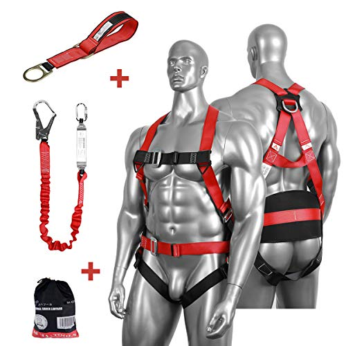 - DCM Fall Protection Full Body Safety Harness Belts Kit with Single Shock Absorbing Lanyard and Concrete Anchor Cross Arm Webbing Strap for Climbing Roofing Restraint Construction Work