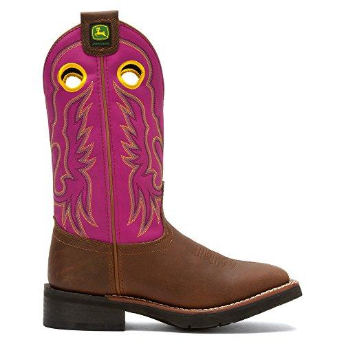 John Deere Kvinna Fyrkantig Tå Western Boot Fuchsia