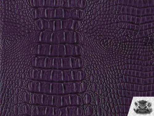 Vinyl Crocodile Allie PLUM Faux / Fake Leather Fabric By the Yard ()