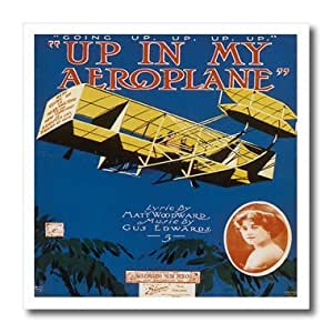 ht_154826_1 BLN Vintage Song Sheet Covers - Up in My Aeroplane Song Sheet Cover with Biplane Flying in the Sky - Iron on Heat Transfers - 8x8 Iron on Heat Transfer for White Material