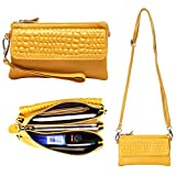 Women Soft Genuine Leather Smartphone Wristlet Purse Cell Phone Cross Body Bag Wallet Clutch Handbag with Card Slots/Shoulder Strap/Wrist Strap - for iPhone 6s Plus (Yellow)