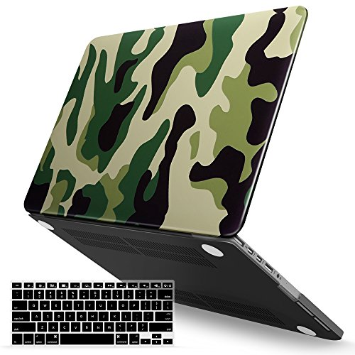 iBenzer MacBook Pro 13 Inch Case 2012-2015, Soft Touch Hard Case Shell Cover with Keyboard Cover for Apple MacBook Pro 13 with Retina Display A1425 1502, Green Camouflage, - Macbook Pro 13 Camo Case Retina