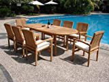 New 9 Pc Luxurious Grade-A Teak Dining Set – 94″ Oval Table And 8 Wave Stacking Arm Chairs #WHDSWVa