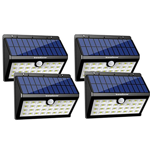 InnoGear Solar Lights 30 LED Wall Radiation Outdoor Security Lighting Nightlight with Motion Sensor Detector for Garden Back Door Step Stair Fence Deck Yard Driveway, Drive off of 4