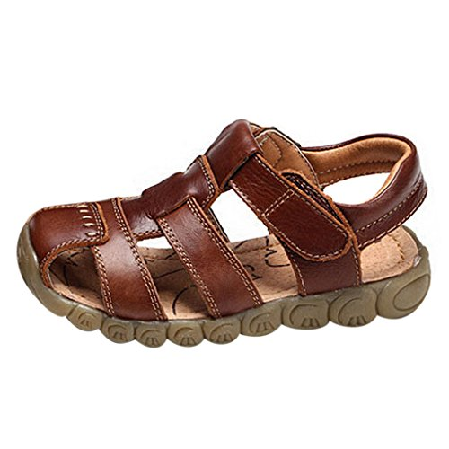GETUBACK Boys Genuine Leather Sandals Soft Sole (Toddler/Little Kid/Big Kid) Brown CN Size - Soft Leather Kid