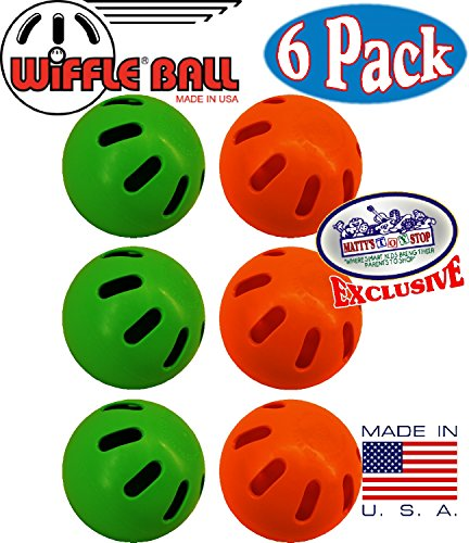 "Wiffle Balls Green & Orange Official Size Baseballs ""Matty's Toy Stop"" Exclusive Gift Set Bundle - 6 Pack (3 Green & 3 Orange) made in Connecticut"