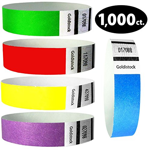 "Goldistock Perfect Combo Variety Pack Set A - 1,000 Count (200/Color) 3/4"" Tyvek Wristbands- Neon Green, Neon Blue, Neon Red, Neon Yellow, & Neon Purple - Event ID Bands (Paper-Like Texture)"