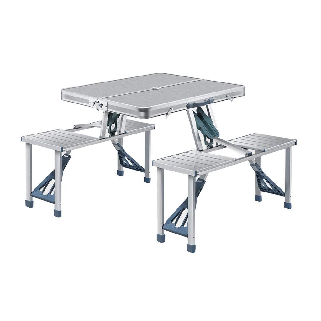 折りたたみ式テーブルポータブルアルミニウム屋内屋外キャンプピクニックスーツケーステーブルセット4席 (Color : Silver) B07SX52CTS Silver
