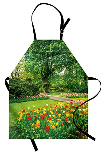 Lunarable Garden Apron, Garden in Keukenhof Colorful Tulip Flowers and Trees Foliage Spring Season, Unisex Kitchen Bib Apron with Adjustable Neck for Cooking Baking Gardening, Yellow Green