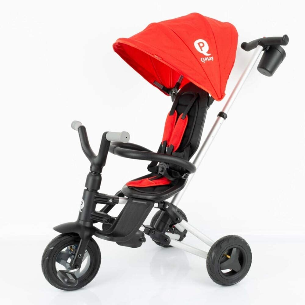 QPLAY - Triciclo Bebe Nova Rojo - Evolutivo - Plegable - Arnés de Seguridad - Ideal para niños de 10 a 36 Meses (máximo 25 Kg)
