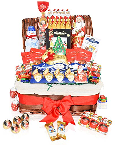 Christmas Chocolate Variety Gift Basket - Lindt, Santa, Reindeer, Snowmen, Ghirardelli, Shortbread, Christmas Specials and more - Christmas Gift Pack for Family, Friends, Her, Him and more
