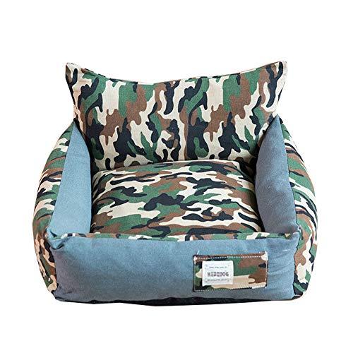 XGPT Camouflage Kennel Small Dog Medium Dog Teddy Bed Pet Nest Dog Supplies Than Bear Dog Mat Washable Four Seasons,L