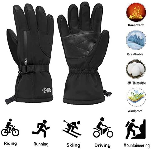 Ski Gloves, Waterproof Winter Snow Gloves for Snowboard Snowmobile Motorcycle Hiking, for Men and Women