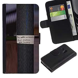 """Samsung Galaxy S3 MINI / i8190 (Not For Galaxy S3) , la tarjeta de Crédito Slots PU Funda de cuero Monedero caso cubierta de piel ("""" Pole Metal Message Text Happy Love"""")"""