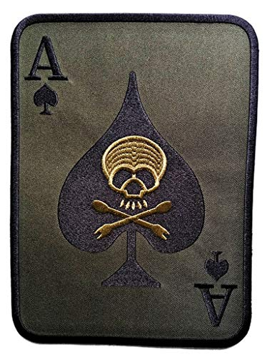 PP Patch Big Jumbo Ace of Spades Death Card Skull and Crossbones Patch Logo Jacket T-Shirt Sew Iron on Patch Sew Iron on Embroidered Applique Collection Clothing