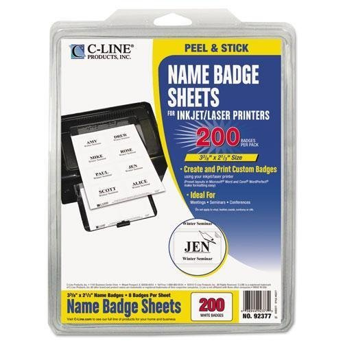 C-Cline 92377 Self-Adhesive Inkjet/Laser Printer Name Badges, 3-3/8 x 2-1/3, White, (Cline Self Adhesive Inkjet)
